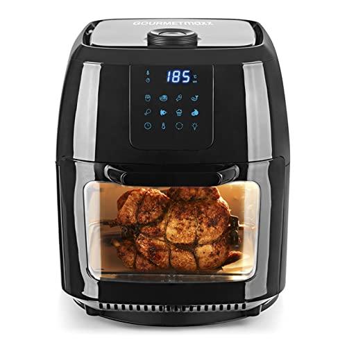 GOURMETmaxx Digitale XXL Heißluft-Fritteuse, Frittieren ohne Fett, 9 Liter Mini-Backofen mit Umluft, 1800 Watt, Hochwertiger Kunststoff/Edelstahl (Schwarz)